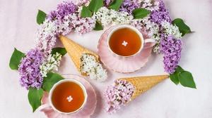 Cup Flower Lilac Still Life Tea Waffle Cone 5472x3648 Wallpaper