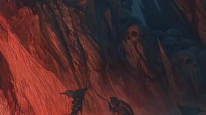 Alexey Egorov River Styx Artwork Fantasy Art Skull ArtStation 1099x1371 Wallpaper