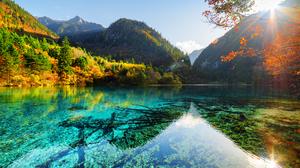 Fall Foliage Mountain Nature Sunbeam 4200x2800 Wallpaper