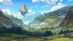 Artwork Digital Art Nature Mountains Castle Fantasy Architecture 2000x992 Wallpaper