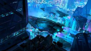 Night Spaceship Cyberpunk Cityscape 2076x1080 Wallpaper