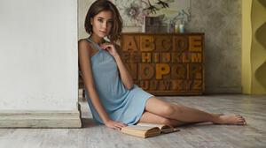 Women Model Looking At Viewer Sergey Fat Auburn Hair Dress Women Indoors Legs Barefoot Eva Reber Sho 1920x1200 Wallpaper
