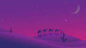 Landscape Desert Night Shooting Stars Purple Background 7680x4320 Wallpaper