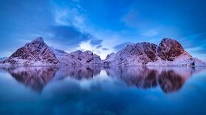 Lake Lofoten Norway Reflection Winter 3000x2000 Wallpaper