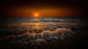 Horizon Ocean Reflection Sunrise Water 2048x1152 Wallpaper