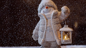 Christmas Lantern Snowfall Snowman 2880x2054 Wallpaper