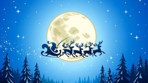 Moon Reindeer Santa Sleigh 2880x1800 Wallpaper