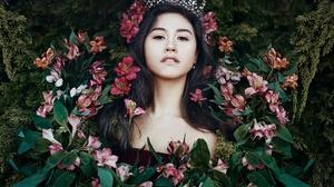 Asian Black Hair Brown Eyes Crown Flower Girl Lying Down Model Woman 2048x1430 Wallpaper