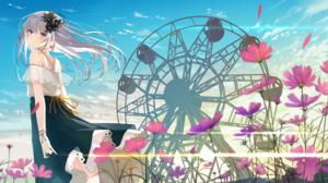 Ferris Wheel Flower Grey Hair Long Hair 4000x1702 wallpaper