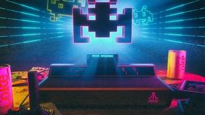 Video Games Space Invaders Atari Joystick Cherry Coke Consoles Can Neon 3D David Legnon Film Grain 2100x1320 Wallpaper