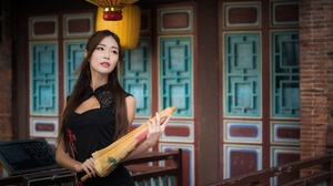 Girl Umbrella Woman Model Long Hair Brunette Black Dress 4500x3002 Wallpaper
