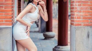 Asian Model Women Dark Hair Long Hair Depth Of Field Bricks Column White Dress Barefoot Sandal Heels 2560x3840 Wallpaper