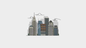 Artwork Cityscape Skyline New York City USA Simple Background White Background Minimalism 1920x1080 Wallpaper
