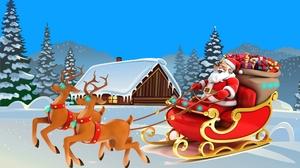 Cabin Reindeer Santa Sleigh Snow Tree 2560x1440 Wallpaper