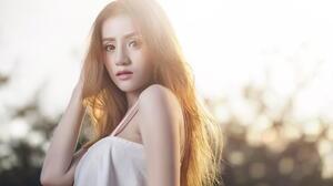 Asian Model Women Long Hair Brunette Depth Of Field White Dress Sun Rays 2880x1745 wallpaper