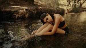 Women River Sitting Wet Hair Women Outdoors Makeup Black Clothing 2560x1440 Wallpaper