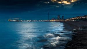 Brighton Brighton England City Lights Dark Coast Sea Sky Outdoors England UK 2048x1152 Wallpaper