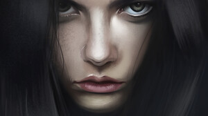 Ya Ar Vurdem ArtStation Portrait Display Artwork Creepy Face Portrait Digital Painting Long Hair Dar 3840x5760 Wallpaper