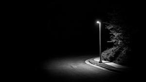 Dark Night Minimalism Monochrome Street Street Light Simple Background Black Background 3840x2160 Wallpaper