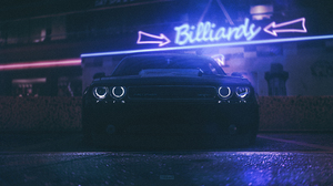 Synthwave Vaporwave Dodge Challenger Neon Halo Headlights 4096x1714 wallpaper