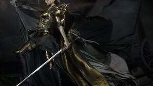 Andrea Savchenko Fantasy Art Fantasy Girl Armored Crown Sword 3000x2399 wallpaper