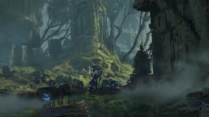 Jef Wu Digital Art Fantasy Art Witch Forest Butterfly 3840x1848 Wallpaper