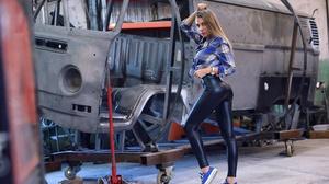 Women Model Blonde Long Hair Leather Pants Black Pants Garages Hands On Head Standing Women Indoors  2000x1335 Wallpaper