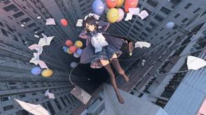 Balloon Black Hair Girl Uniform 3200x1600 Wallpaper