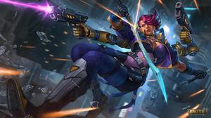 Smite PC Gaming Video Game Art Video Game Girls Girls With Guns DeviantArt Gun Weapon Purple Hair 1920x1080 Wallpaper