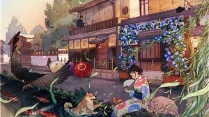 Kimono Dog Short Hair Bird 2560x1810 Wallpaper