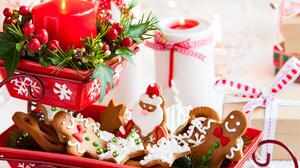 Candle Christmas Cookie Gingerbread 3744x3129 Wallpaper