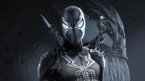 Black Suited Spiderman Spider Man Black Spawn Mashup 3840x2160 Wallpaper