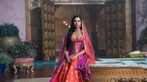 Naomi Scott Princess Jasmine British Actress Black Hair Brown Eyes Pink Dress Princess 2700x1800 Wallpaper