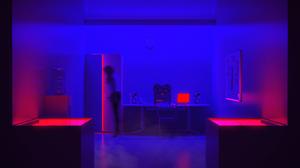 Neon Neon Lights CGi Digital Art Render Red Blue Office Abstract 2560x1440 Wallpaper