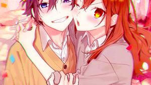 Horimiya Miyamura Izumi Hori Kyouko Love Blue Eyes Yellow Eyes School Anime Girls Anime Boys Happy F 1080x1920 Wallpaper