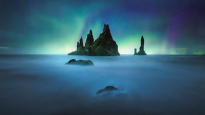 Aurora Borealis Blue Earth Horizon Ocean Rock Sea Sky 1920x1200 Wallpaper