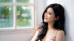 Asian Women Long Hair Black Hair Depth Of Field Pink Dress Window Smiling 3000x2000 Wallpaper