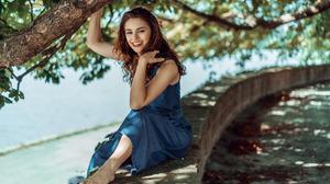 Women Model Red Lipstick Women Outdoors Hands In Hair Sitting Smiling Blue Dress Barefoot Denim 2880x1800 Wallpaper