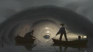 Stefan Hansson Artwork ArtStation Boat Men Water Fantasy Art Creature 3840x1607 Wallpaper