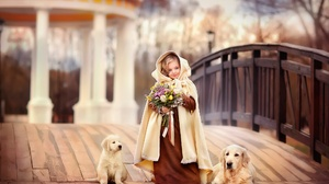 Dog Bouquet Girl Puppy Labrador Depth Of Field 2000x1333 Wallpaper