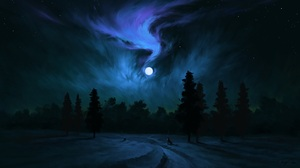 Digital Painting Night Moon Wolf Landscape BisBiswas 1920x1080 Wallpaper