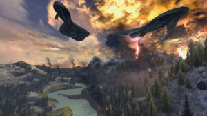 In Game Halo Reach PC Gaming Planet Reach Destruction Fire Covenant Battlecruiser Glassing Highlands 3840x2160 Wallpaper