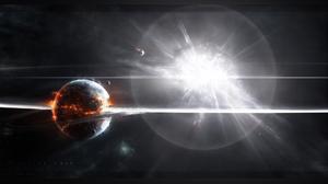 CGi Sun Star Planet Destruction Energy Moon Space Explosion Supernova 1920x1200 Wallpaper