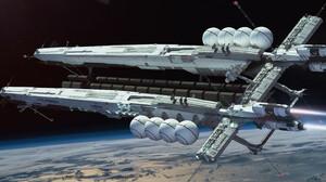 Science Fiction 3D Render CGi Digital Art Space Planet 3840x1644 Wallpaper