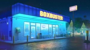 Digital Art Digital Bogdan MB0sco Night Starry Night Neon Sign Bicycle DeLorean Telephone Booth 1920x1080 Wallpaper