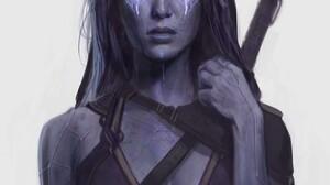 Gamora Guardians Of The Galaxy Concept Art Purple Skin 1280x1760 Wallpaper