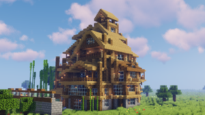 Minecraft House Cabin Forest Landscape Mansion Rustic Wood House 1920x1080 Wallpaper