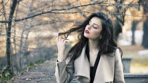 Girl Woman Depth Of Field Black Hair Lipstick 3000x2000 Wallpaper