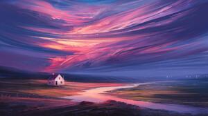 Digital Painting Landscape Sky River Night Aenami 1920x1080 wallpaper