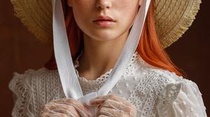 Sergey Sergeev Women Hat Straw Hat Redhead Brown Eyes Looking At Viewer Freckles White Clothing Glov 1080x1620 Wallpaper